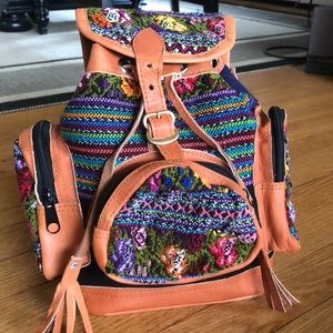 Handbags - Mexican leather embroidered mini backpack 🎒